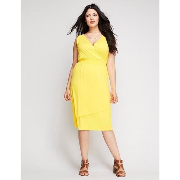 3b68e418e3694 Lane Bryant Dresses | Yellow Layered Smocked Dress | Poshmark